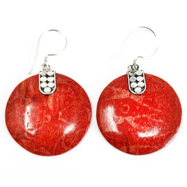 Coral Style 925 Silver Earring - Disc Disc Décor