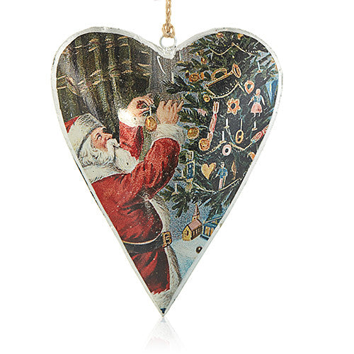 Vintage Large Heart - Santa & Christmas Tree Bauble