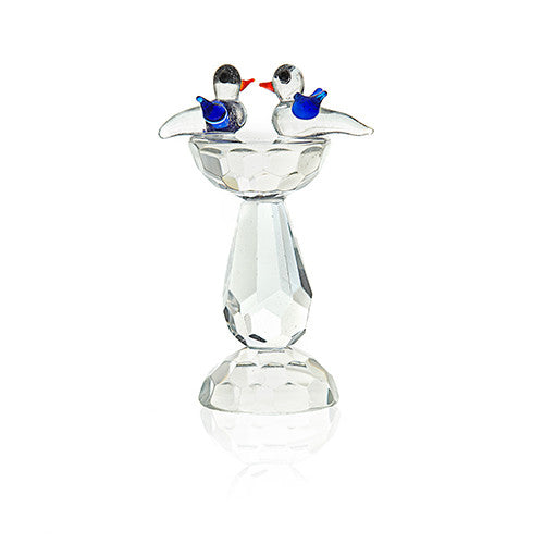 Two Crystal Birds on Tall Table