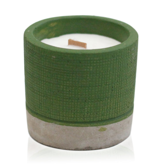 Pot Concrete Soy Candle - Green - Sea Moss & Herbs