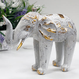 Wood Carved Elephant - White Gold