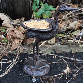 Cast Iron Bird Feeder - Stork - Natural