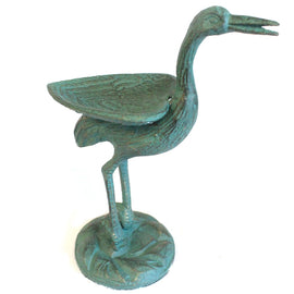 Cast Iron Bird Feeder - Stork - Verdigris