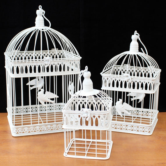 Set of 3 - Square Classic Bird Cage - Ivory