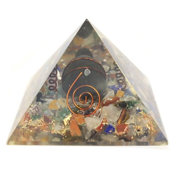 Med Orgonite Pyramid 60mm Gemchips, Copper, Turtle