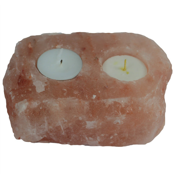 Natural Salt Candle Holder - 2 holes
