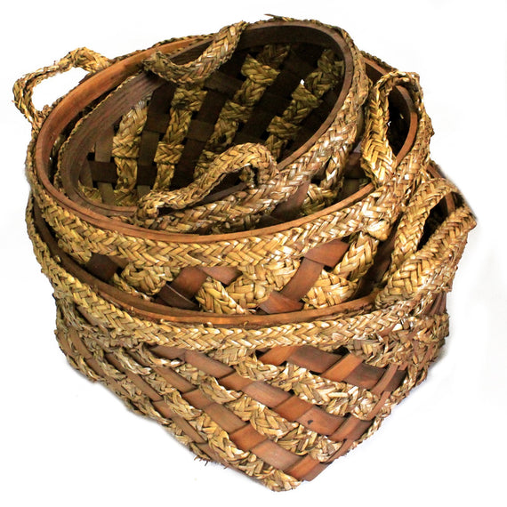 Big Set of 3 Display Baskets - Wood Grass - 47x25cm