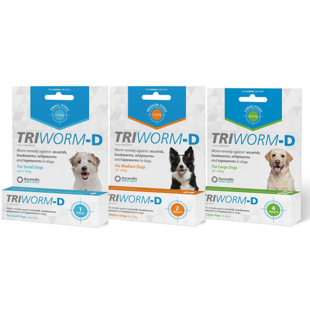 Triworm-D Individual Packs (Small - Large breeds)