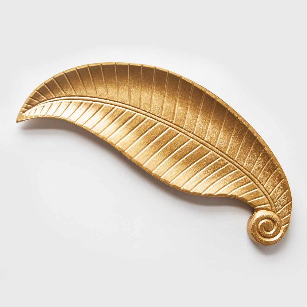 Gold Wooden Decorative Leaf Plate