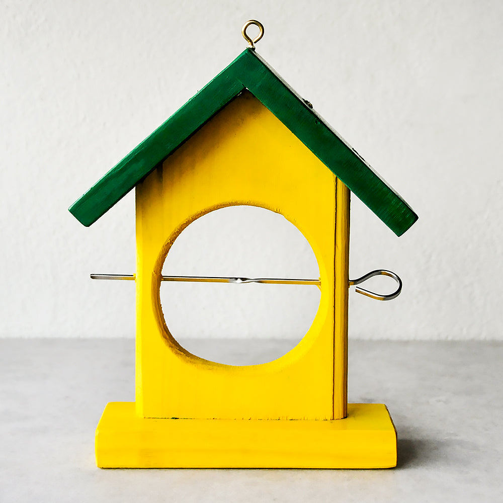 Wooden Bird Fruit Feeder - Yellow