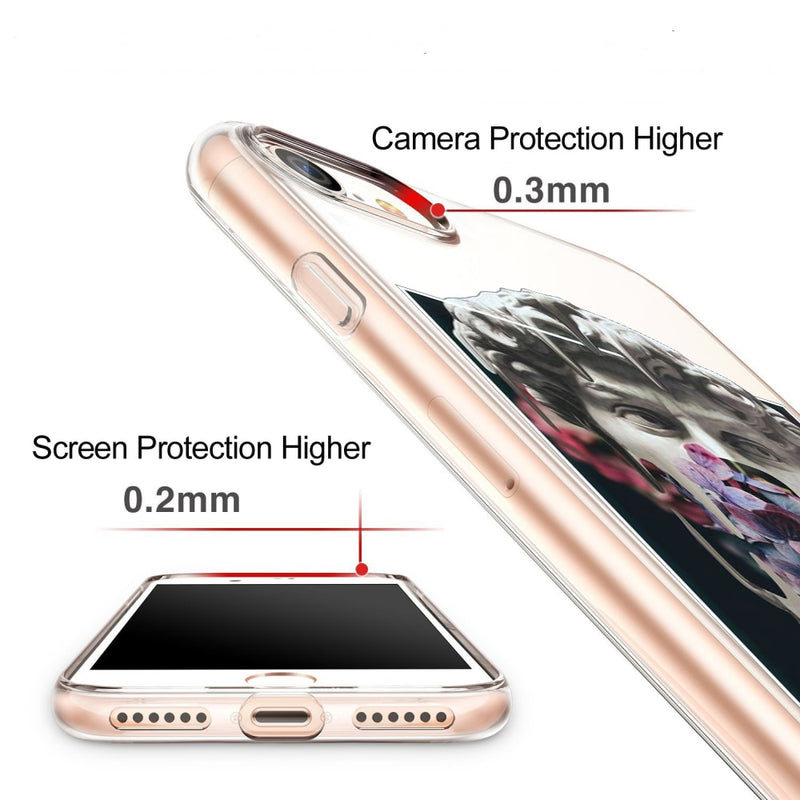 Shows how the case protects the camera and the screen. The case is 0.3mm higher than the camera and 0.2mm higher than the screen.