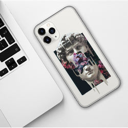 Michelangelo's statue head melted in half with a floral background on a clear iphone case.