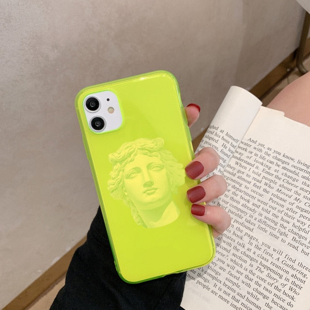 Show cases the neon green michelangelo printed iphone case.