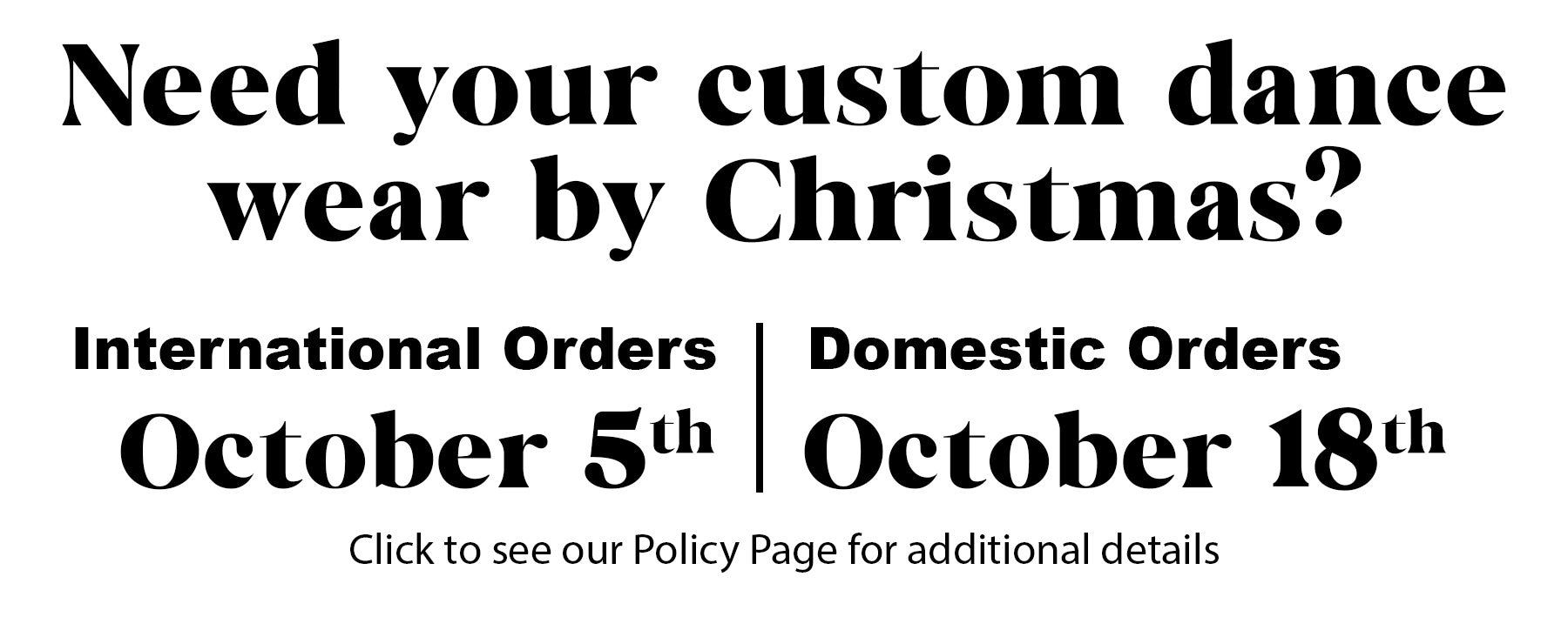 See our policies page for details
