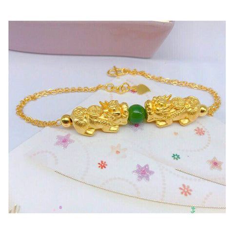 Feng Shui 999 Real Gold Pixiu Inlaid With Hetian Jade Bracelet, Money Magnet, About 4.2g