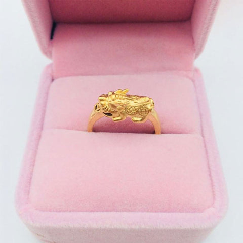 Feng Shui 24K Gold Placed Sand Gold Pixiu Ring,  Super Energy Money Nagnet