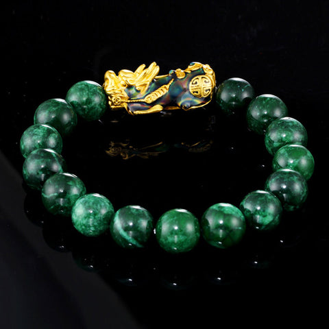 Feng Shui Gold Plated Thermochromic Pixiu with Natural Sapphire Jade Bracelet