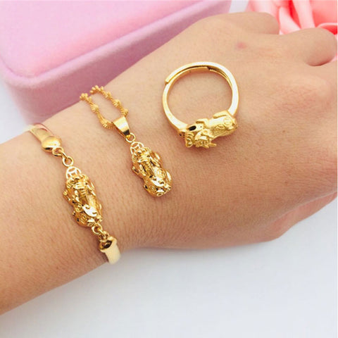 24K Gold Plated Pixiu Three-piece Set Feng Shui Jewelry