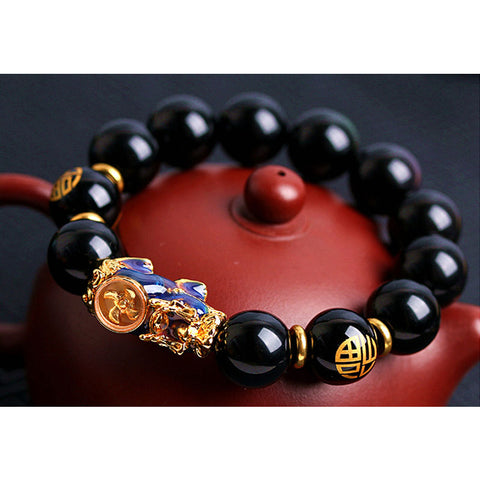 Feng Shui Bracelet Pixiu Obsidian Gold Plated Enhance Wealth Bracelet For Men and Women