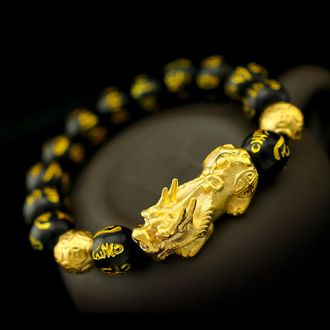 Customized Made Pure 999 Gold 3D Pixiu Feng Shui Bracelet