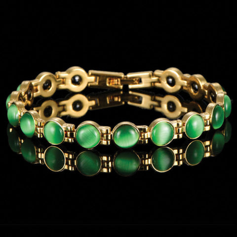 Feng Shui Bracelet 18K Gold Plated Green Cats Eye Stone By The Palace Dream