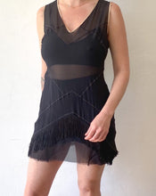 Load image into Gallery viewer, Vintage Guerriero Black Sheer Mini Dress