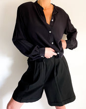 Load image into Gallery viewer, Vintage Black Silk Button Up Blouse
