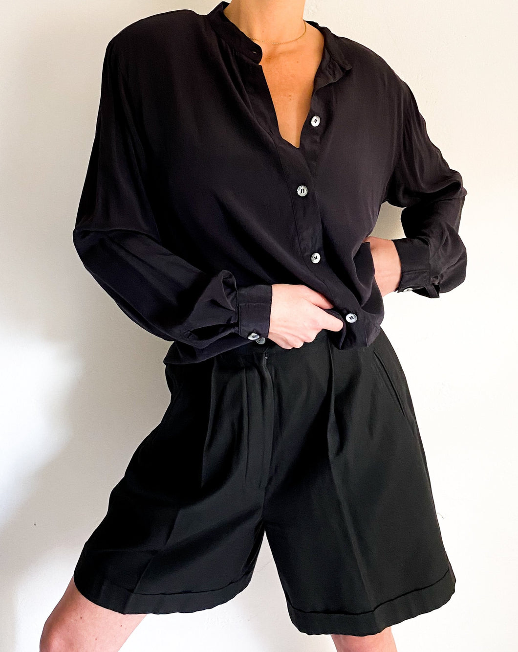 Vintage Black Silk Button Up Blouse