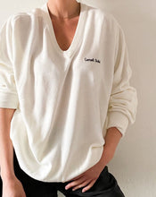 Load image into Gallery viewer, Vintage White V-Neck Sweater