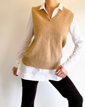Load image into Gallery viewer, Vintage Camel V-Neck Sweater Vest