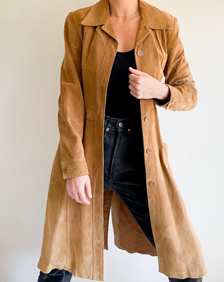 Vintage Camel Long Suede Coat