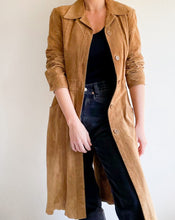 Load image into Gallery viewer, Vintage Camel Long Suede Coat