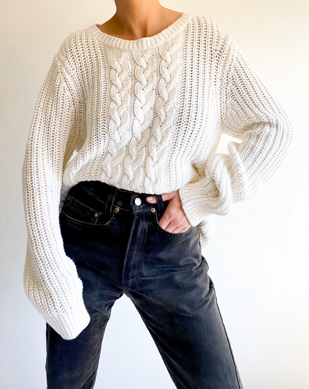 Vintage Nautica White Cable Knit Sweater