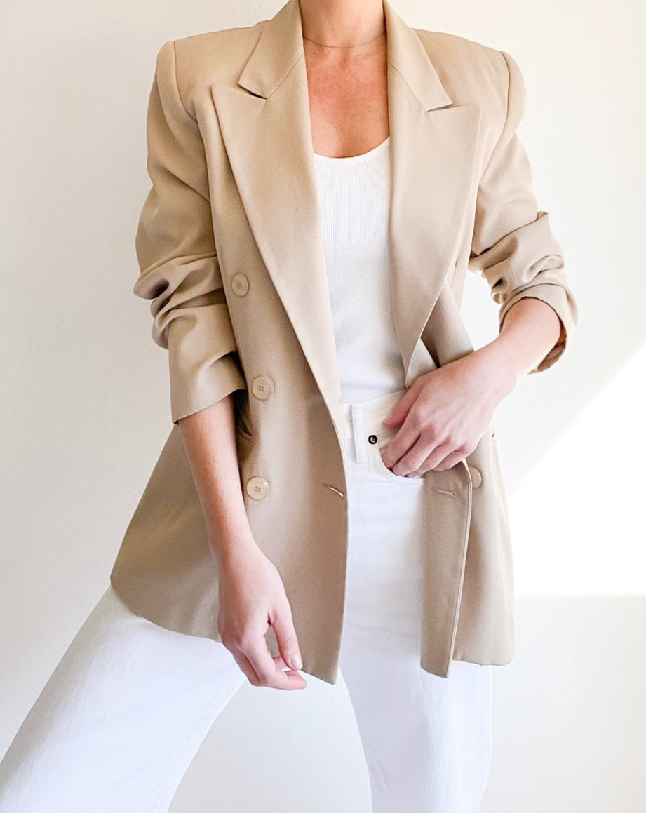 Vintage Beige Double-Breasted Blazer