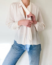 Load image into Gallery viewer, Vintage Ivory Tie Neck Blouse