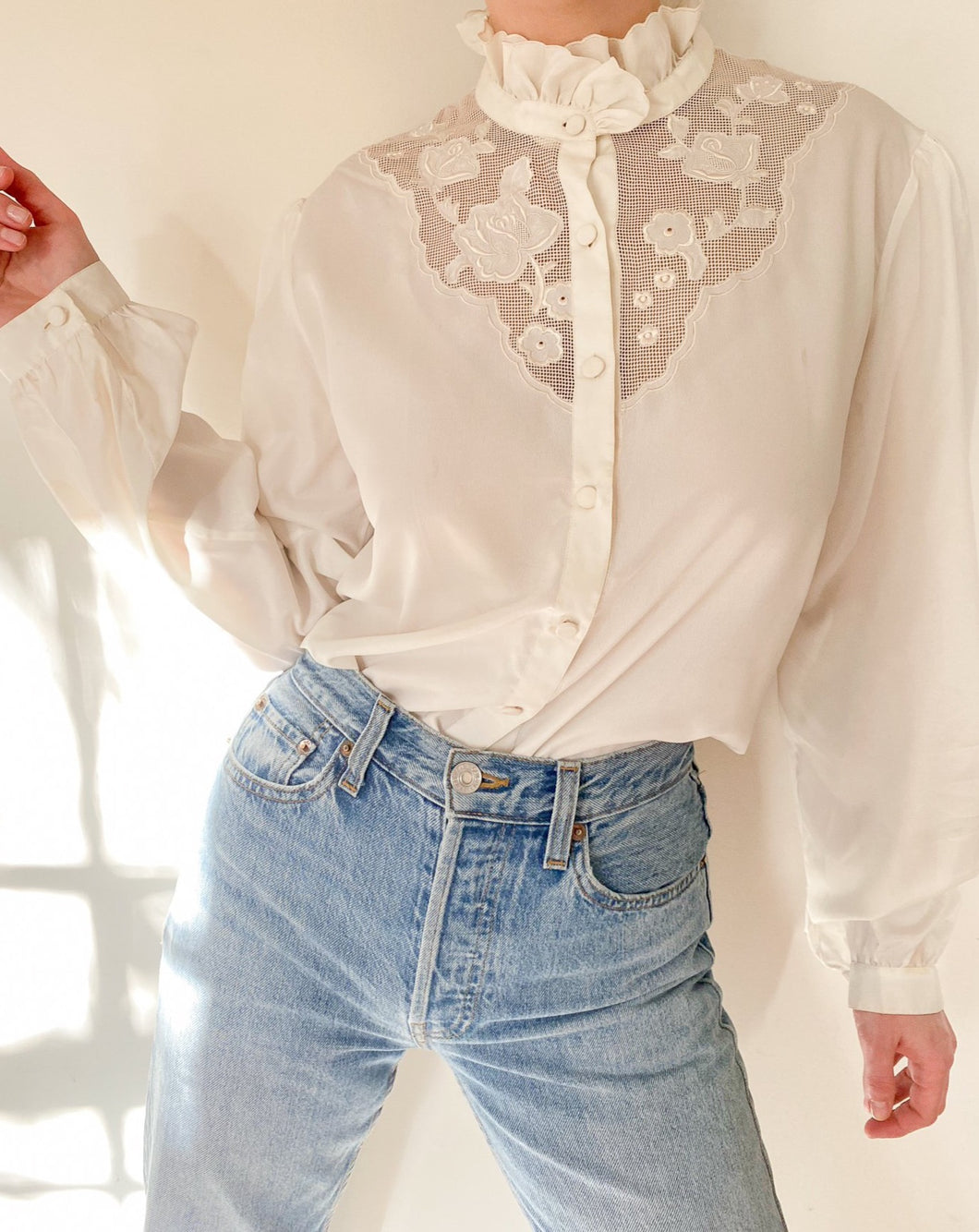 Vintage Ivory Hand Embroidered Blouse