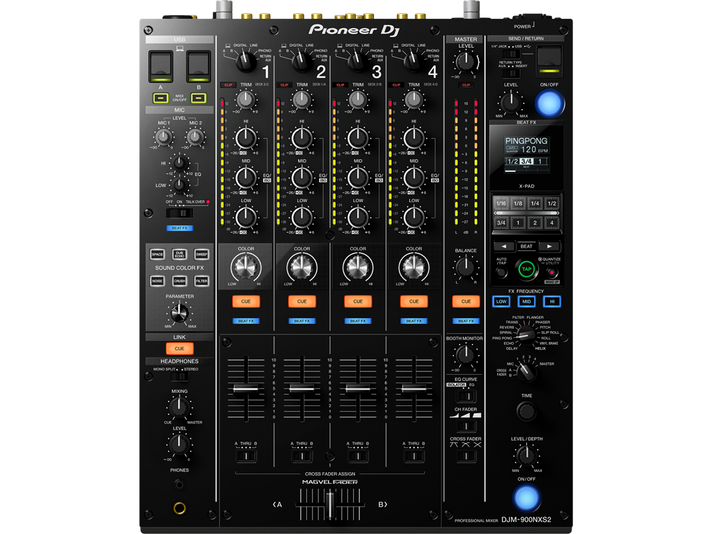 Pioneer DJM-900NXS2, 4-channel mixer