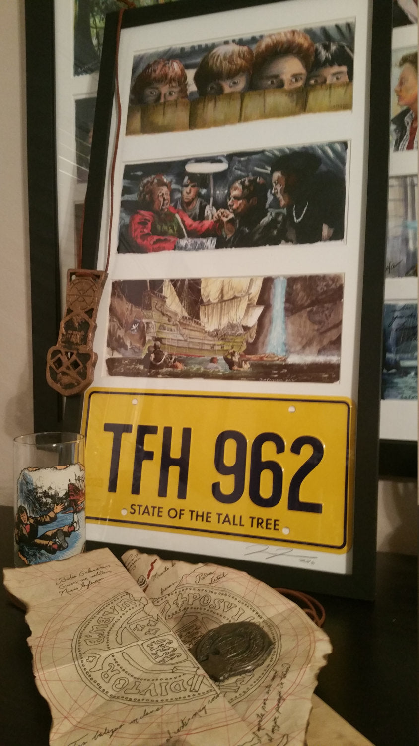 3 Framed Goonies prints with License Plate By Jim Ferguson