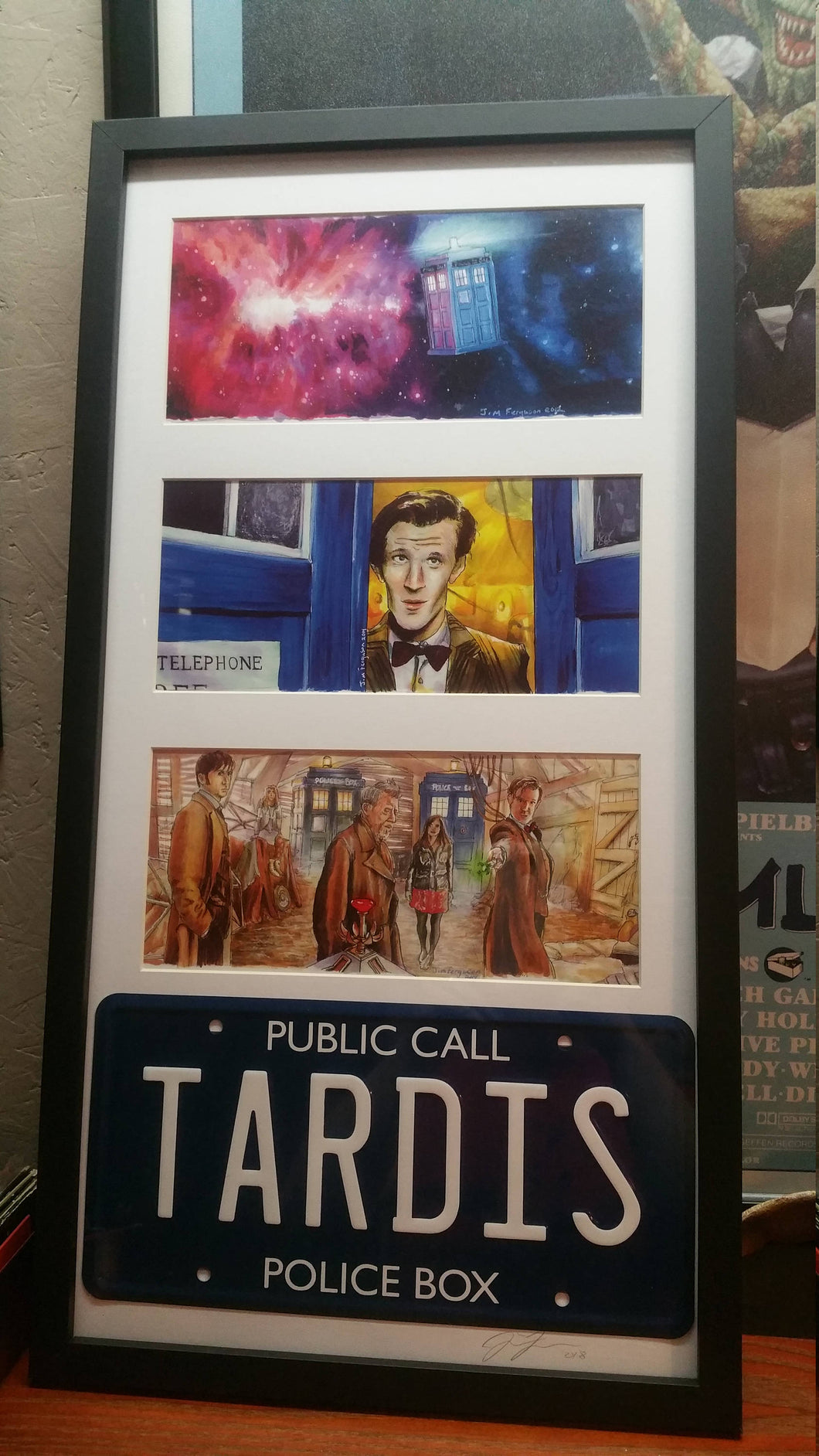3 Framed Doctor Who prints with License Plate by Jim Ferguson By Jim Ferguson