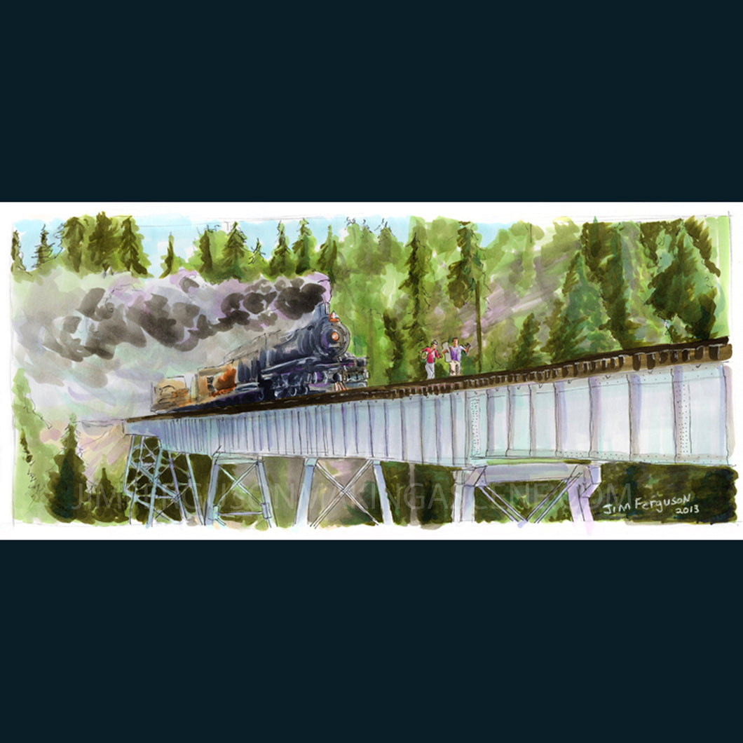 Stand By Me - Hey Atleast Now We Know When the Next Train was Due Poster Print By Jim Ferguson