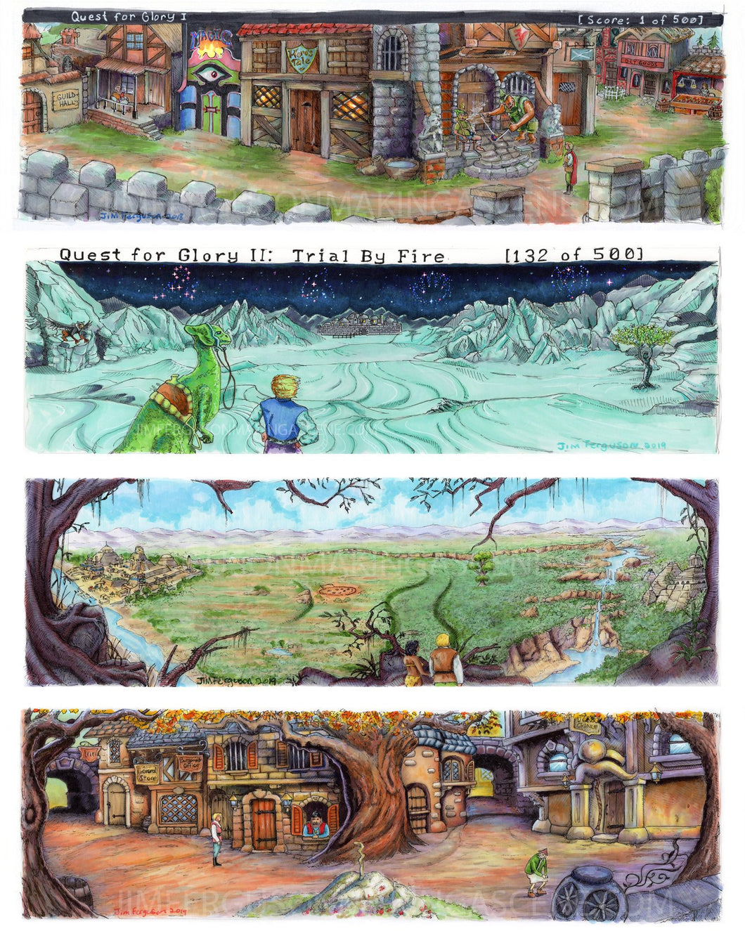 Set of 5 Quest for Glory Prints By Jim Ferguson