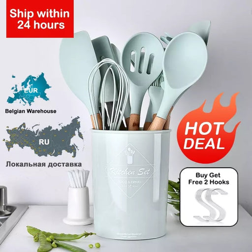 40% OFF💥  High Quality Silicone Kitchenware With Wooden Handle