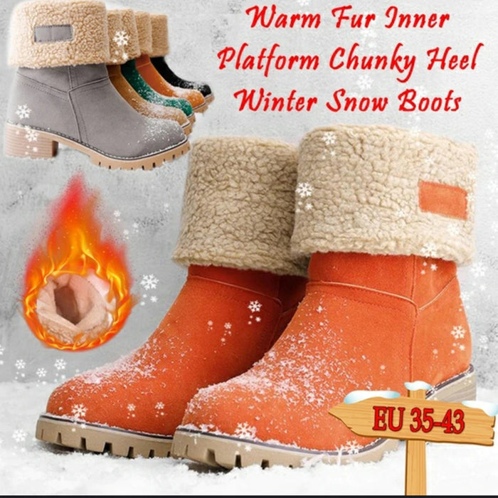 🎄Winter Flocked High-Heeled Lamb Fur Snow Boots