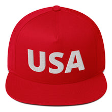 "Load image into Gallery viewer, ""USA"" [Red or Blue] Embroidered Flat Bill Snapback Hat"