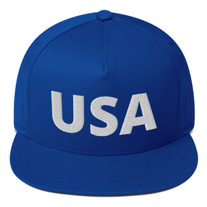 """USA"" [Red or Blue] Embroidered Flat Bill Snapback Hat"