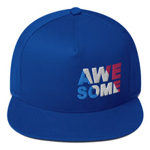 "Load image into Gallery viewer, ""AWESOME"" Embroidered Flat Bill Snapback Hat"