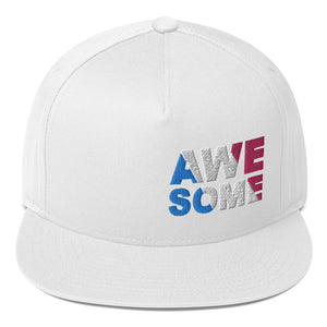 """AWESOME"" Embroidered Flat Bill Snapback Hat"