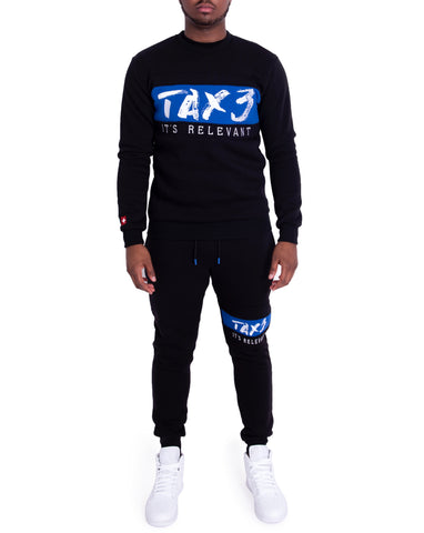 It's Relevant 2.0 Crewneck Tracksuit - Black/Blue