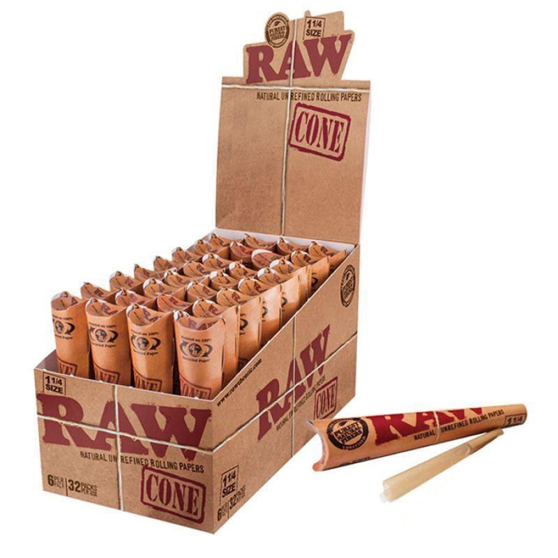 "Raw Classic 1 1/4"" Size Pre-rolled Cone-  32 Pack per Display"