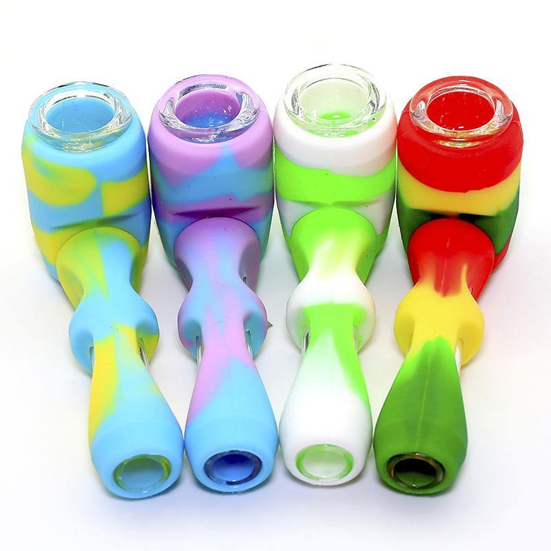 "4"" Silicone & Glass Fancy Cut Spoon Hand pipe"